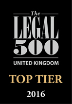 Legal 500 Top Tier Firm 2016